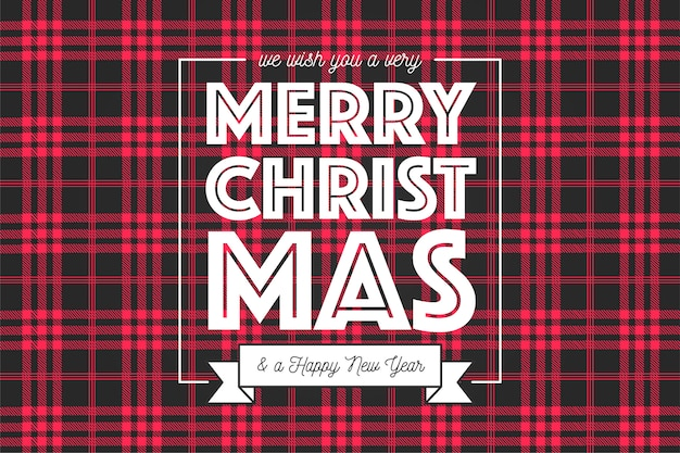 Christmas background in red and black tartan pattern Free Vector