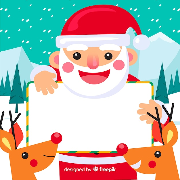 Christmas background santa claus holding blank sign Free Vector