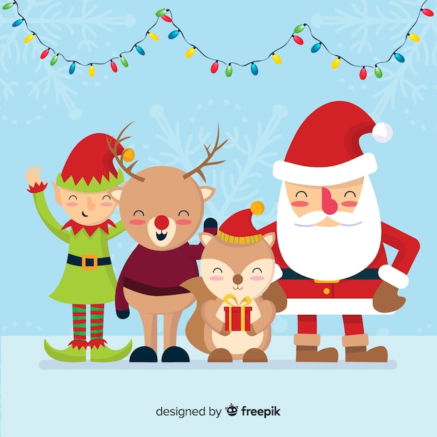 Christmas Background Santa S Friends Free Vector