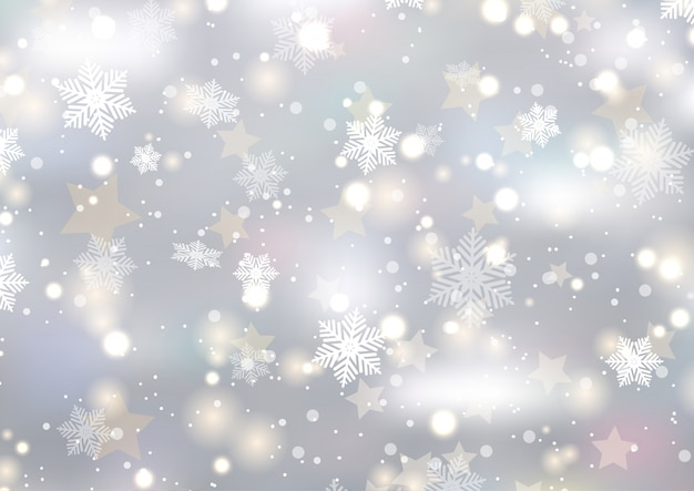 Christmas background of snowflakes and stars Free Vector