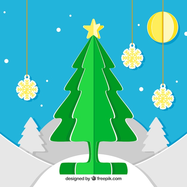 Christmas background with a green christmas tree in paper style