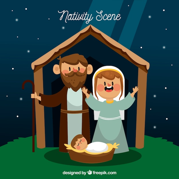 Christmas background with a nativity scene in flat design