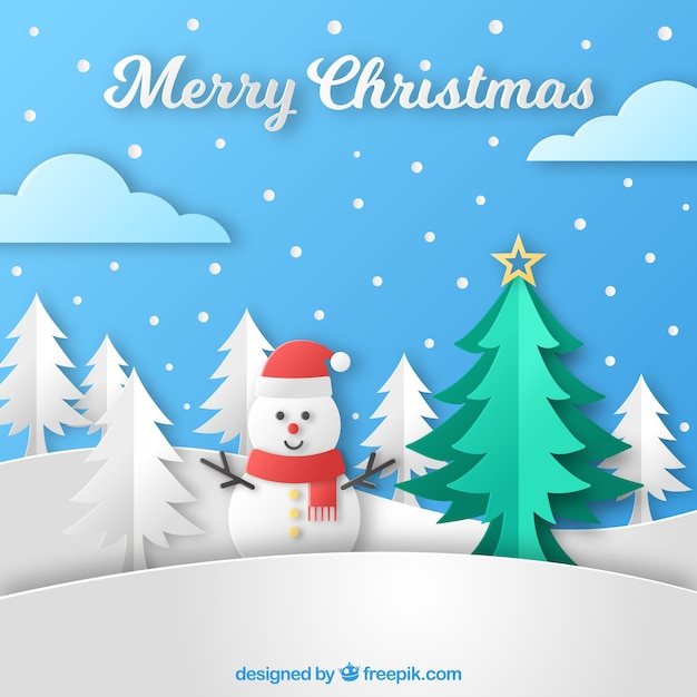 Christmas background with a snowman in paper style