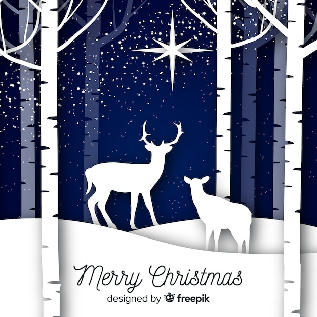 Christmas background with animals Free Vector