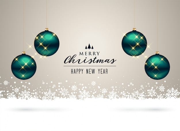 Christmas background with balls and snowflakes decoration Free Vector