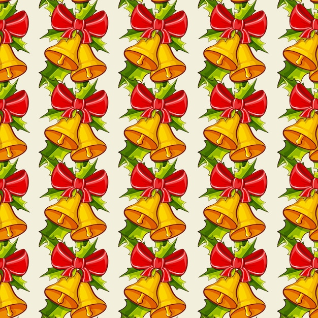 Christmas background with bells.  seamless pattern. Premium Vector