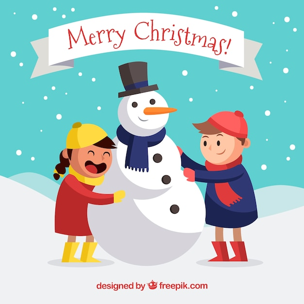 Christmas background with children and snow man