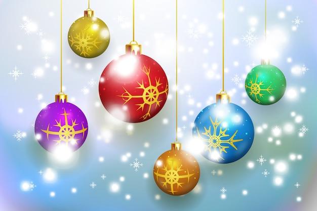 カードと招待状のクリスマスボールベクトルパターンとクリスマスの背景 無料ベクター