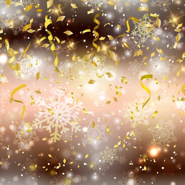 Christmas background with confettis Free Vector