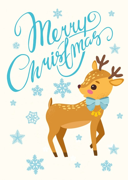 Christmas Background With Cute Reindeer Premium Vector