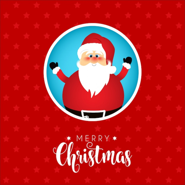 Christmas Background With Cute Santa Design Vector Free