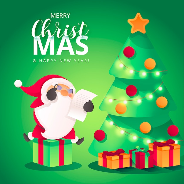 Christmas Background with Cute Santa Leaving Presents Free Vector