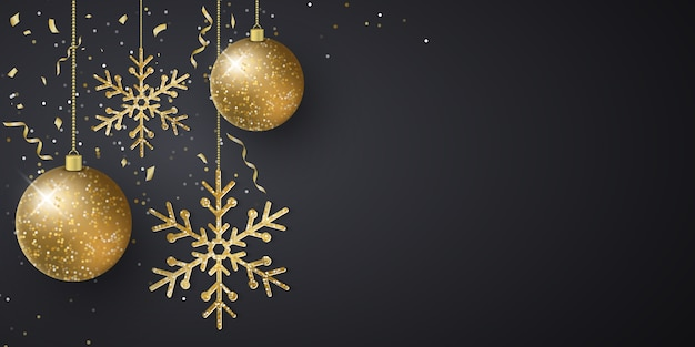 Новогодний фон с украшениями из сверкающих шаров, снежинок, летающих конфетти и мишуры на темном фоне. Premium векторы
