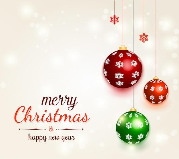 装飾ボールとクリスマスの背景 Premiumベクター