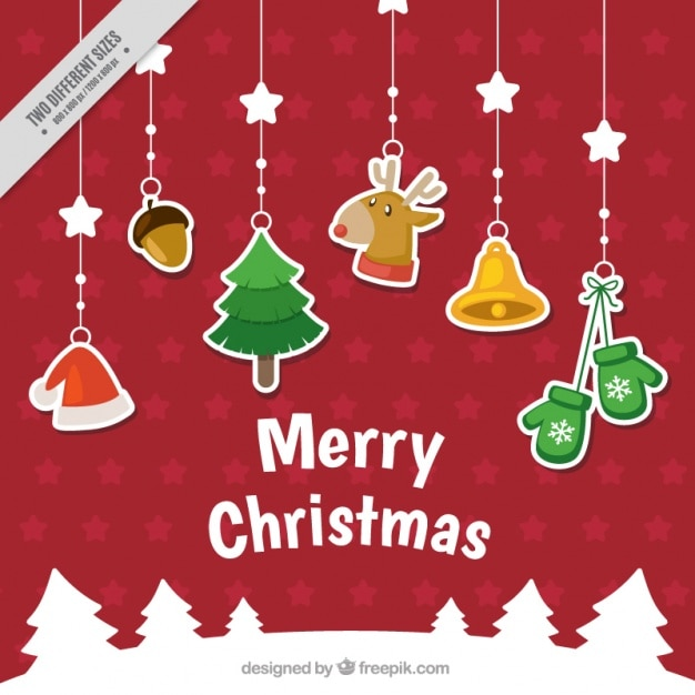 Christmas background with decorative stickers hanging Free Vector