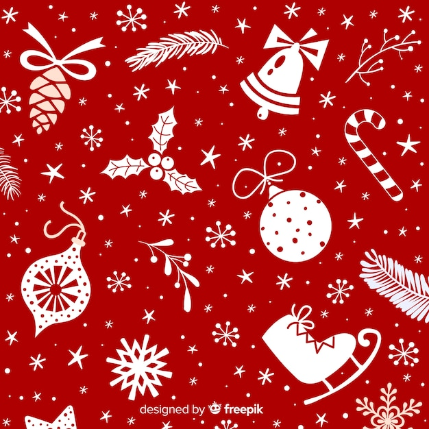 Christmas background with different decorations Premium Vector