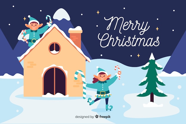 Christmas background with elfs in flat design Free Vector