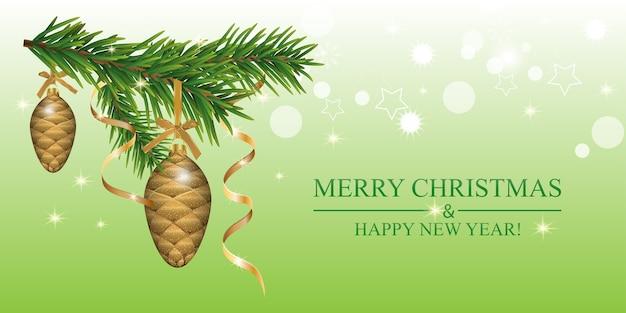 전나무 가지, 싸구려 콘과 골든 리본 크리스마스 배경. 프리미엄 벡터