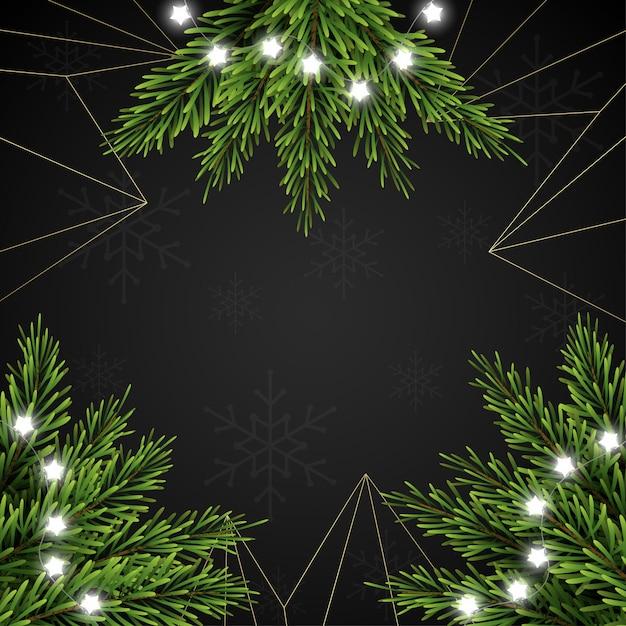 Рождественский фон с еловыми ветками на темном фоне Premium векторы
