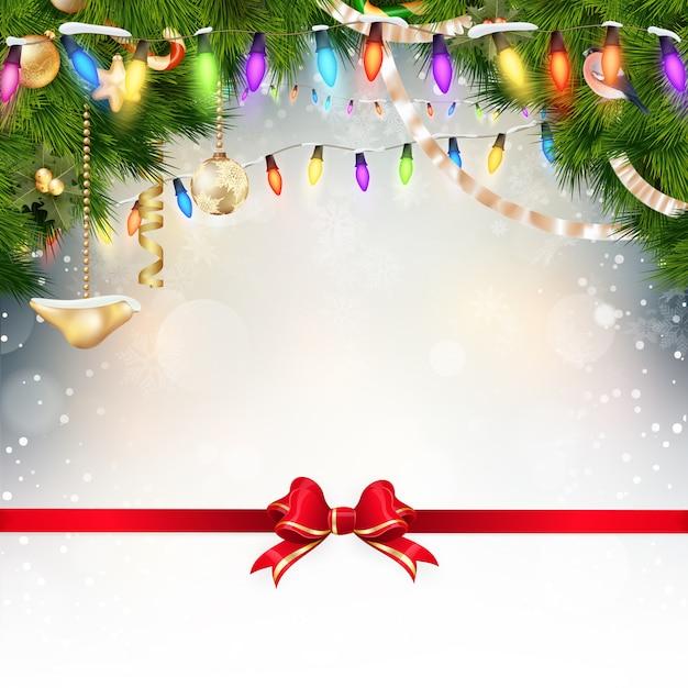 モミの小枝と赤の弓とクリスマスの背景。 Premiumベクター