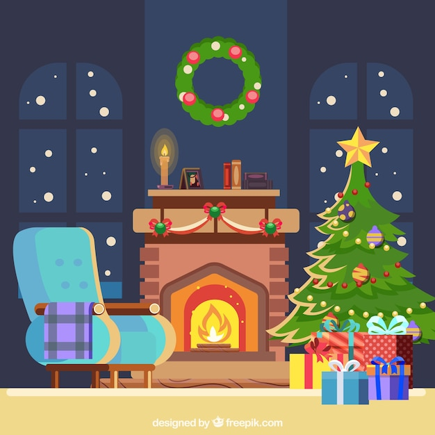 Christmas background with fireplace in flat design Premium Vector