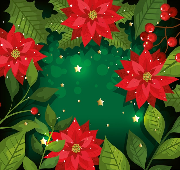 Christmas background with flowers and decoration Free Vector