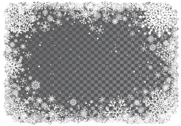 Christmas background with frame of snowflakes Premium Vector