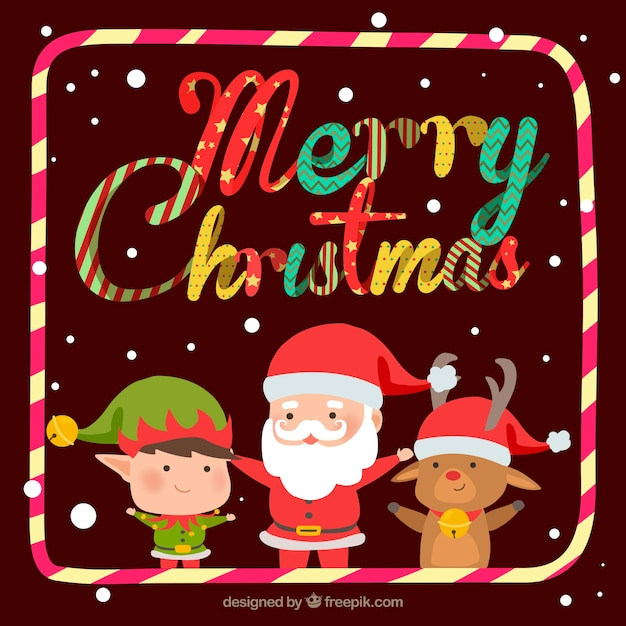 Christmas background with funny style Free Vector