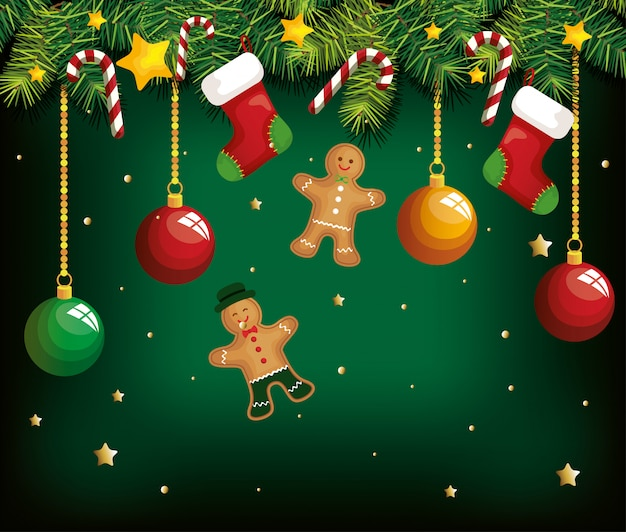 Christmas background with ginger cookies hanging and decoration Free Vector