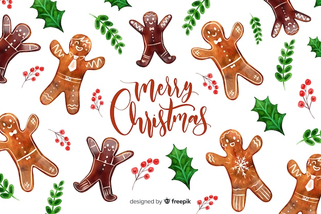 Christmas background with gingerbread man Free Vector