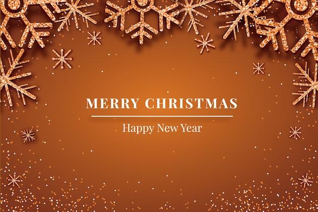キラキラと雪のクリスマスの背景 無料ベクター