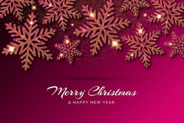 Рождественский фон с эффектом блеска Бесплатные векторы