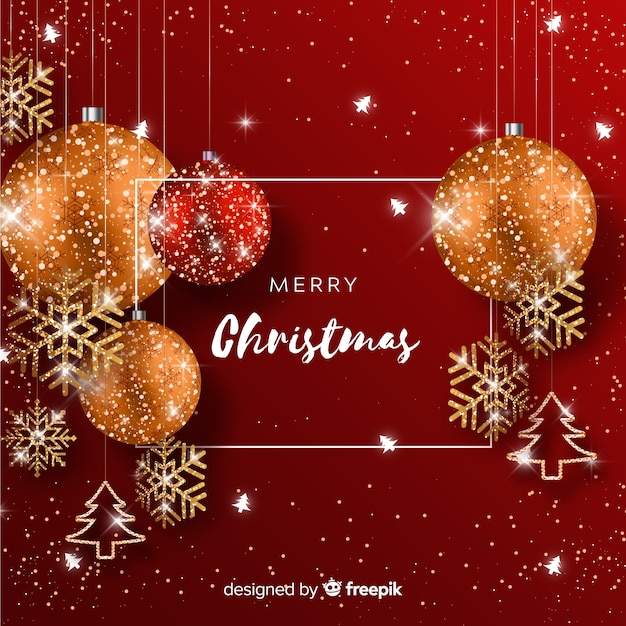 Christmas background with glitter elements Free Vector