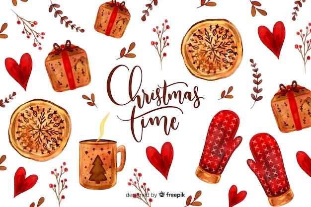 Рождественский фон с перчатками и подарками Бесплатные векторы