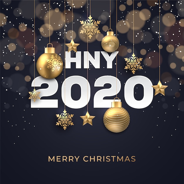 Christmas background with glowing dots light golden stars bubbles and snowflakes Premium Vector