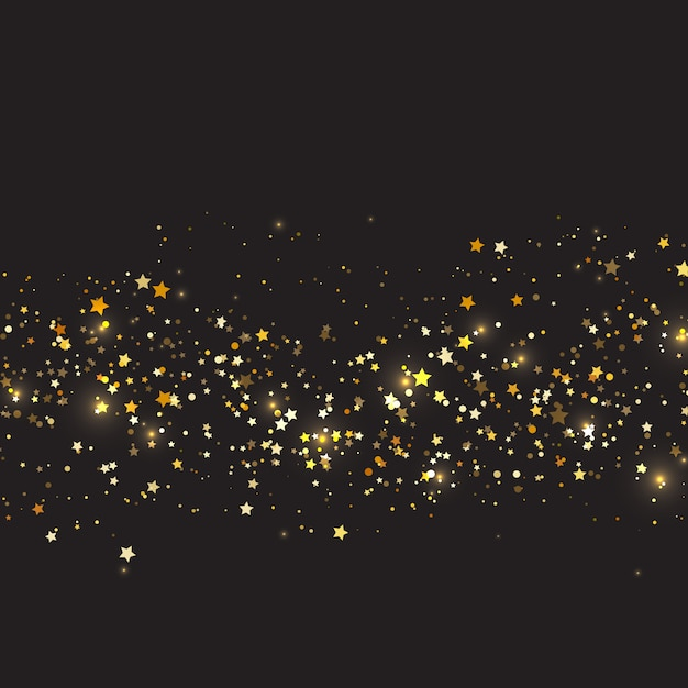 Christmas background with gold stars design Free Vector