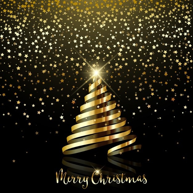 Christmas background with golden confetti and ribbon tree Free Vector