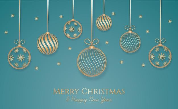 Рождественский фон с золотым украшением Бесплатные векторы