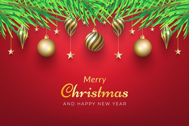 나무에 매달려 황금 장신구와 크리스마스 배경. 프리미엄 벡터