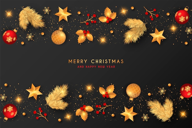 Christmas Background With Golden & Red Decoration Vector