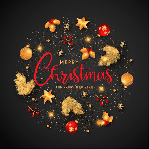 Christmas background with golden and red ornaments Free Vector