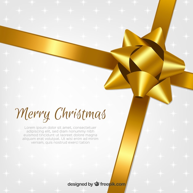 Christmas background with golden ribbons Free Vector