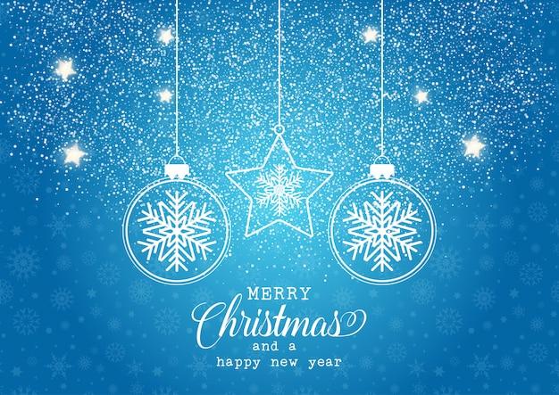 Рождественский фон с висящими безделушками с дизайном снежинки Бесплатные векторы