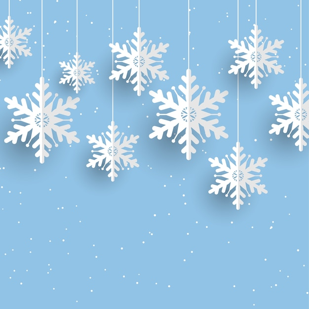 Christmas background with hanging snowflakes Free Vector