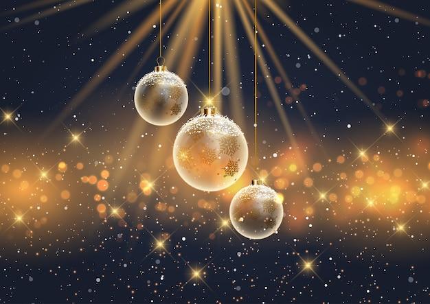 Рождественский фон с висящими снежными шарами Бесплатные векторы