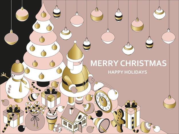 Новогодний фон с изометрическими милыми игрушками. забавный санта и пряничный домик. рождественское приветствие концепция Premium векторы