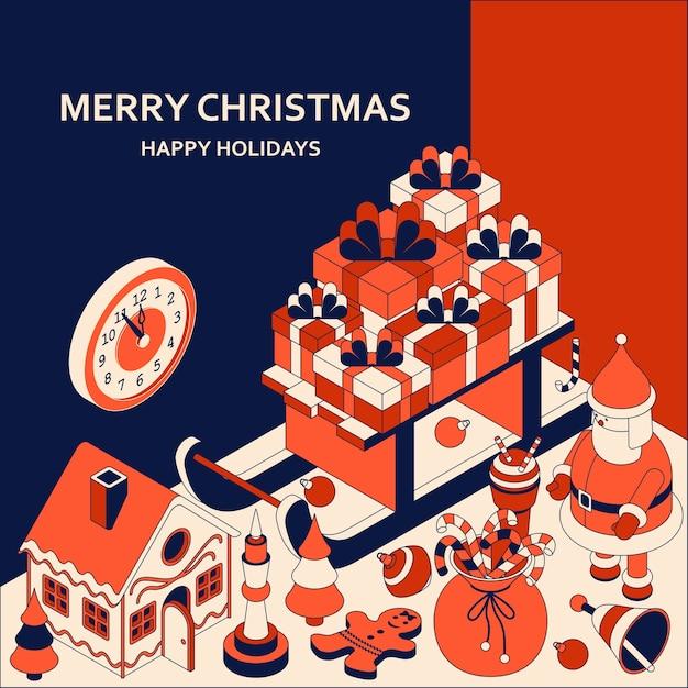 Новогодний фон с изометрическими милыми игрушками. сани с подарками и пряничный домик Premium векторы