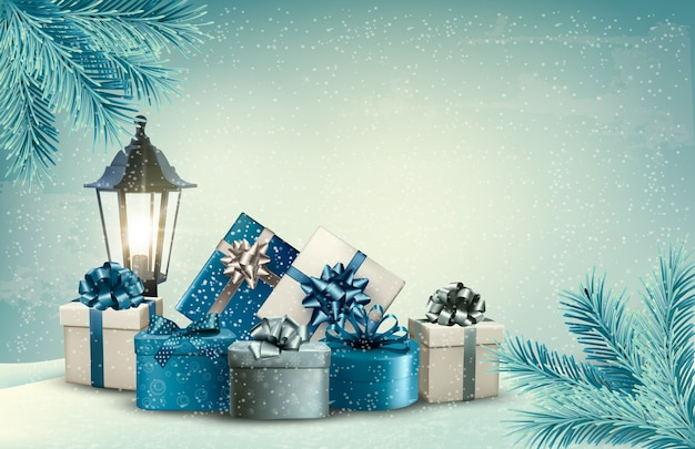 Christmas background with a lantern and presents. Premium Vector