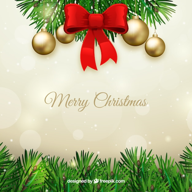 Christmas background with leaves and red bow Free Vector