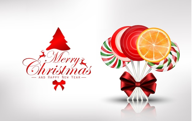 Christmas background with lollipop and orange slice Vector